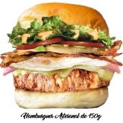 Artesanais: Vacão - Hambúrguer (Ingredientes: Alface, Bacon, Hambúrguer Artesanal de 150g, Maionese, Molho Especial, Ovo, Pão, Presunto, Queijo, Tomate)