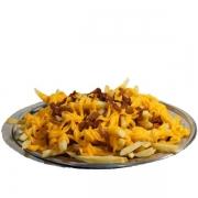 Porções: Batata Frita com Cheddar e Bacon - Grande (Ingredientes: Bacon, Batata, Cheddar, Serve 2 pessoas)