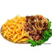 Porções: Carne de Sol com Batata Frita - Grande (Ingredientes: Batata, Carne de Sol 300g, Cebola, Queijo, Serve 2 pessoas)