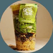 Salada: Salada Caeser no Pote - Salada (Ingredientes: Alface americana, crespa, ovo de codorna, frango desfiado, queijo parmesão e molho)
