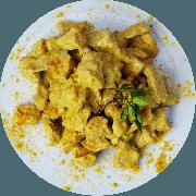 Frango: Cubinhos de Frango ao Curry - prato (Ingredientes: (+2 Acompanhamentos), Coco Ralado, Filé de Frango em Cubinhos ao Molho Curry)