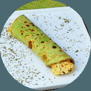 Frango: Panqueca Verde - prato (Ingredientes: (+2 Acompanhamentos), espinafre com creme de frango e palmito)