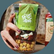 Salada: Salada Vegetariana no Pote - Salada (Ingredientes: Alface americana, crespa, rúcula, cebola roxa, azeitona, queijo minas, tomate seco, grão de bico e molho)
