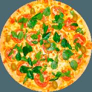 Tradicionais: Marguerita - Pizza Média (Ingredientes: Massa tradicional crocante, Molho Pomodori de tomate Pellati, Queijo Mussarela, Tomate, Queijo Parmesão, Manjericão)