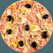 Tradicionais: Portuguesa - Pizza Média (Ingredientes: Massa tradicional crocante, Molho Pomodori de tomate Pellati, Queijo Mussarela, Presunto sem gordura, Ovo, Cebola Fatiada, Azeitona, E Orégano)