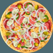 Especiais: Baiana c/ Pimentão - Pizza Média (Ingredientes: Massa tradicional crocante, Molho Pomodori de tomate Pellati, Queijo Mussarela, Linguiça Calabresa, Pimenta Calabresa, Cebola Fatiada, Pimentão Fatiado, E Orégano)