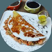 Tapioca: Camarão - Tapioca (Ingredientes: camarão, Queijo coalho, Tomate)