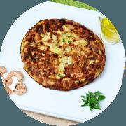 Omelete: (NOVO) Omelete de Camarão - Omelete (Ingredientes: 2 ovos, filé de camarão, queijo coalho, tomate, cebolinha e orégano.)