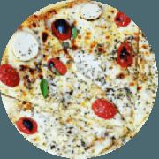 Tradicionais: Di Palma - Pizza Grande (Ingredientes: Palmito, tomate cereja, manjericão, mussarela light, orégano, molho de tomate caseiro sem conservantes e massa integral enriquecida com fibras (chia, gergelim e linhaça).)