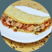 Crepioca: Camarão - Crepioca (Ingredientes: camarão, Goma de tapioca, Ovo, Queijo coalho)
