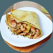 Crepe: Camarão - Crepe (Ingredientes: Camarão, Orégano, Queijo Coalho, Tomate)
