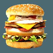Hambúrguer: 01- Big Aprisco - Lanche (Ingredientes: Pão, 2 Hamburgueres, Molho Especial, 2fatias de queijo cheddar, Presunto, Ovo, Ketchup, Mostarda, Maionese, Cebola, Alface, Batata Palha, Bacon)