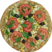 Veganas e Vegetarianas: Jardineira - Pizza Broto (Ingredientes: Ervilha, Milho, Mussarela, Palmito, Tomate)