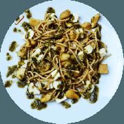 Massas: Espaguete Mediterrâneo - Espaguete integral, cubinhos de frango e molho pesto caseiro finalizado com manjericão.