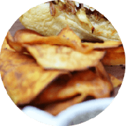 Sanduíche: Chips de Batata Doce - Sanduíche (Ingredientes: Chips de Batata Doce)