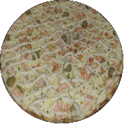 Premium: Camarão - Pizza Média (Ingredientes: Camarão, Catupiry, Cebola, Dobro de mussarela, Molho, Pimentão, Tomate)