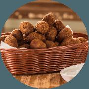 Porções: Bolinho de Mandioca com Carne Seca 600g 30 unidade - Porção Média (Ingredientes: Bolinho de Mandioca com Carne Seca)