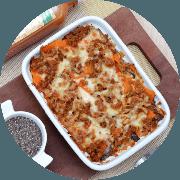Prato do Dia: Lasanha de Berinjela (Terça-feira) - Prato do Dia (Ingredientes: Lasanha feita com berinjela, cenoura, molho de tomate caseiro com patinho moído e queijo minas)