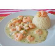 Camarões: Camarão ao Thermidor - A La Carte Pequeno (Ingredientes: camarão médio refogado ao molho ao creme. acompanha arroz branco e purê.)