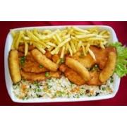 Frango: Frango a Cubana - A La Carte Pequeno (Ingredientes: filé de frango empanado. acompanha, banana, arroz a grega e fritas.)