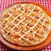 Pizzas Especiais: Camarão com Catupiry - Pizza Pequena (Ingredientes: Camarão médio refogado, Catupiry, Molho de Tomate, Mussarela, Orégano)