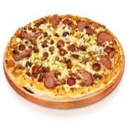 Pizzas Tradicionais: Natal - Pizza Pequena (Ingredientes: Atum, Azeitona, Calabresa, Milho, Molho de Tomate, Mussarela, Orégano, Presunto)