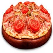Pizzas Tradicionais: Primavera - Pizza Pequena (Ingredientes: Azeitona, Bacon, Molho de Tomate, Mussarela, Orégano, Presunto, Tomate)
