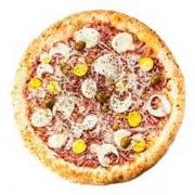 Pizzas Tradicionais: Portuguesa - Pizza Pequena (Ingredientes: Azeitona, Cebola, Molho de Tomate, Mussarela, Orégano, Ovo, Presunto)