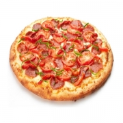 Pizzas Tradicionais: Plano Piloto - Pizza Pequena (Ingredientes: Azeitona, Calabresa, Molho de Tomate, Mussarela, Orégano, Presunto)