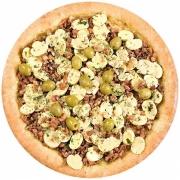 Pizzas Tradicionais: Siciliana - Pizza Pequena (Ingredientes: Bacon, Cogumelo, Molho de Tomate, Mussarela, Orégano)