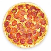 Pizzas Tradicionais: Salame - Pizza Pequena (Ingredientes: Azeitona, Molho de Tomate, Mussarela, Orégano, Salame)