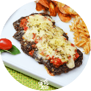 Carnes: Parmegiana Low Carb - prato (Ingredientes: (+2 Acompanhamentos), Filé de Alcatra empanada na Farinha de Linhaça + 2 Acompanhamentos)