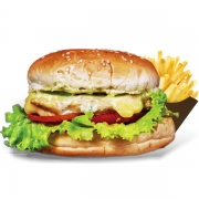 Burgers: Franguito - Burger 240g (Ingredientes: Filé de Frango Grelhado, Molho Caeser, Alface, Tomate, Cebola, Muçarela)