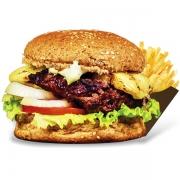 Burgers: Integral - Burger 240g (Ingredientes: Burger de Costela Angus, Maionese, Alface, Cebola, Tomate, Filé de Frango Grelhado, Queijo Coalho)