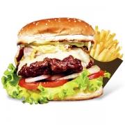 Burgers: Macanudo - Burger 240g (Ingredientes: Burge de Novilho Angus, Maionese, Alface, Tomate, Cebola Grelhada, Bacon, Mussarela)