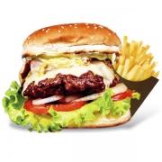 Burgers: Província de São Pedro - Burger 240g (Ingredientes: Burger de Costela Angus, Maionese, Alface, Tomate, Cebola Caramelizada, Cogumelos Grelhados, Gorgonzola)