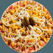 Tradicionais: À Grega - Pizza Família (Ingredientes: Cebola, Ervilha, Milho Verde, Molho, Mussarela, Orégano, Presunto)