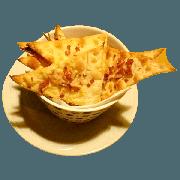 Casquinha: Casquinha de Parmesão - Massa de Pizza Crocante, parmesão, orégano e azeite