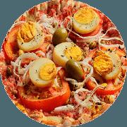 Tradicionais: Portuguesa - Pizza Família (Ingredientes: Cebola, Ervilha, Molho, Mussarela, Ovo, Presunto, Tomate)
