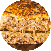 Calzone: Strogonoff Carne - Calzone Grande (Ingredientes: Orégano, Catupiry, Presunto, Strogonoff, Muçarela)