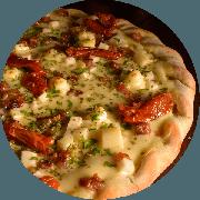 Especiais: Palmito com Bacon - Pizza Média (Ingredientes: Bacon, Borda à Francesa de Requeijão, Gotas de Requeijão, Molho de Tomate Cuko