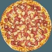 CLÁSSICAS DA CHEF´S: Calabresa Com Alho - Pizza Grande (Ingredientes: Alho Frito, Calabresa, Molho, Muçarela, Orégano)