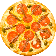 Salgadas: Aliche - Pizza Grande (Ingredientes: Aliche, Mussarela, Tomate)