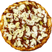 Tradicionais: Toscana - Pizza Gigante (Ingredientes: Azeitona, Bacon, Champignon, Molho de Tomate, Mussarela, Orégano, Palmito)