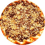 Doces: Shot - Pizza Gigante (Ingredientes: Amendoim, Chocolate ao Leite, Mussarela)